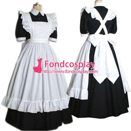 Sissy maid vestido de algodão bloqueável Uniform cosplay Tailor-made [G2189]
