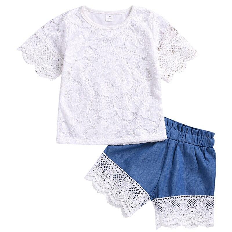 Conjunto de chicas nuevo encaje de manga corta Top + pantalones cortos de encaje de mezclilla conjunto de 2 piezas de moda bebé niñas salida conjunto