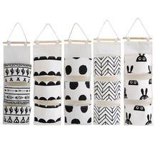 Sac de rangement mural de 3 poches   Sac de rangement suspendu noir blanc à motifs en coton et lin, pochette murale suspendue pour garde-robe, organisateur de cosmétiques et de jouets