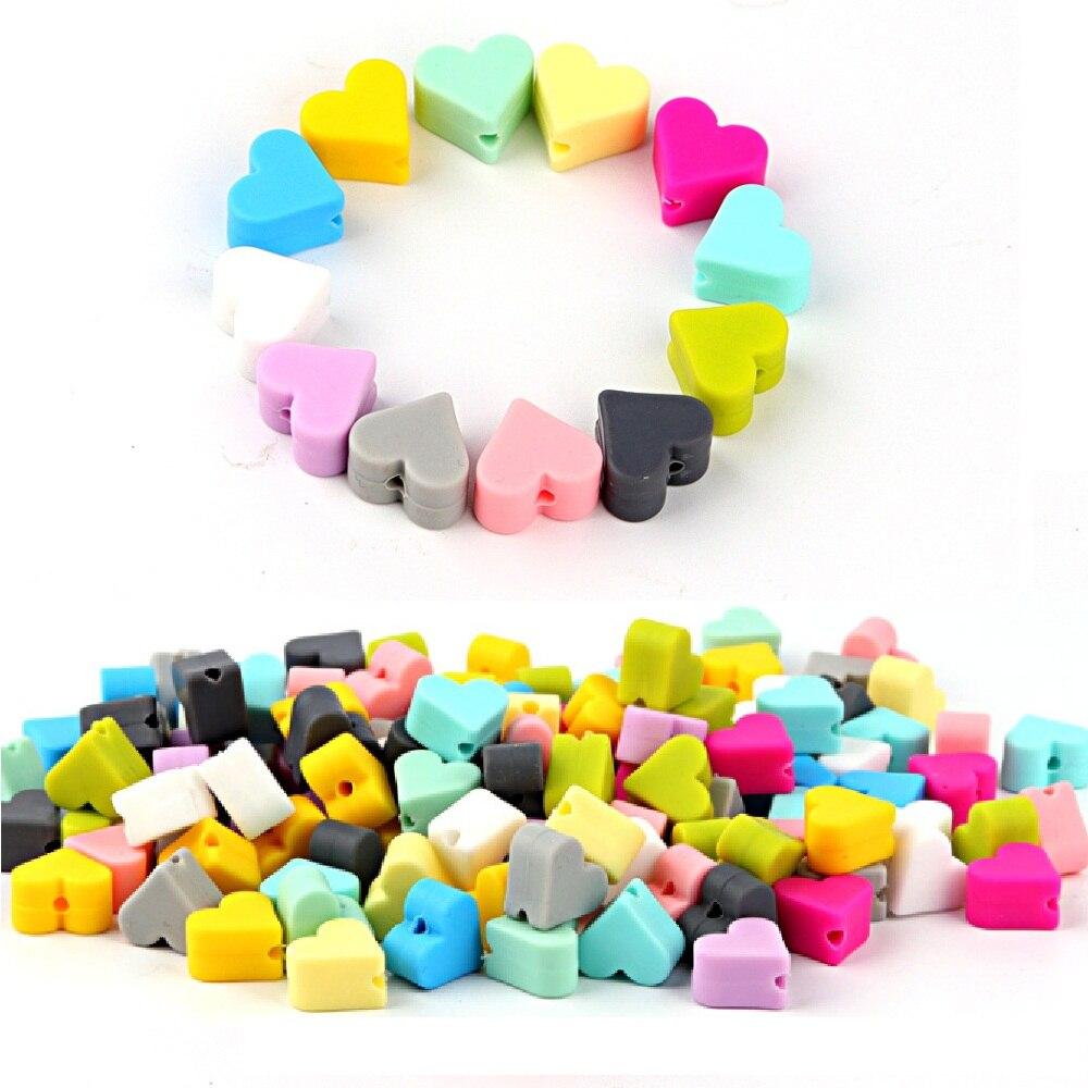 TYRY HU 10 piezas Corazón de silicona abalorios para dentición de bebé cuentas mordedor perlas DIY Cadena de chupete mordedor bebé
