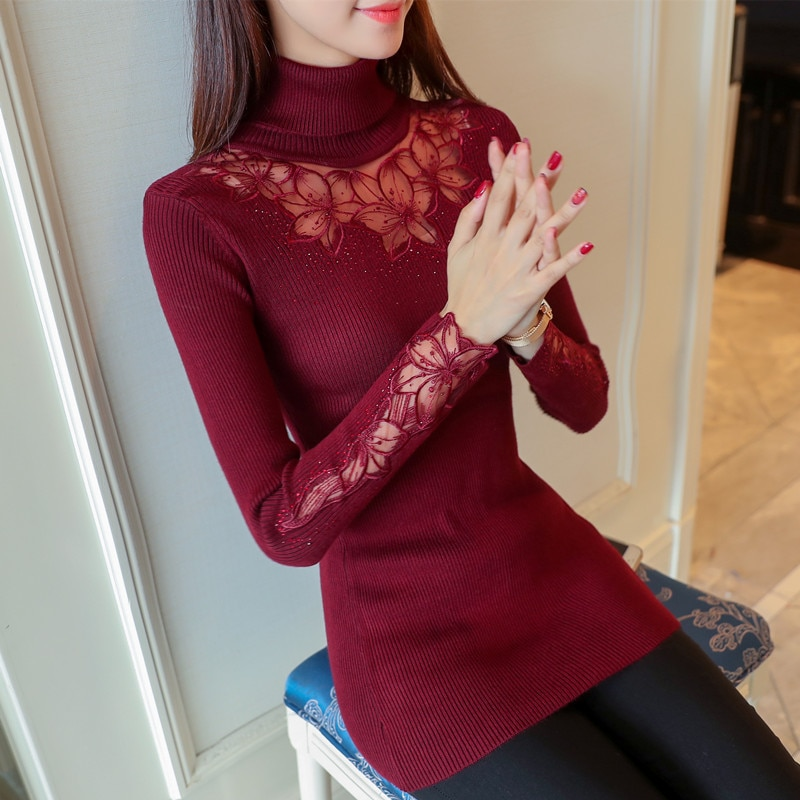 OHCLOTHING Jersey nuevo de cuello alto jersey de manga de encaje suéter 2017 coreano otoño costura suéter de encaje