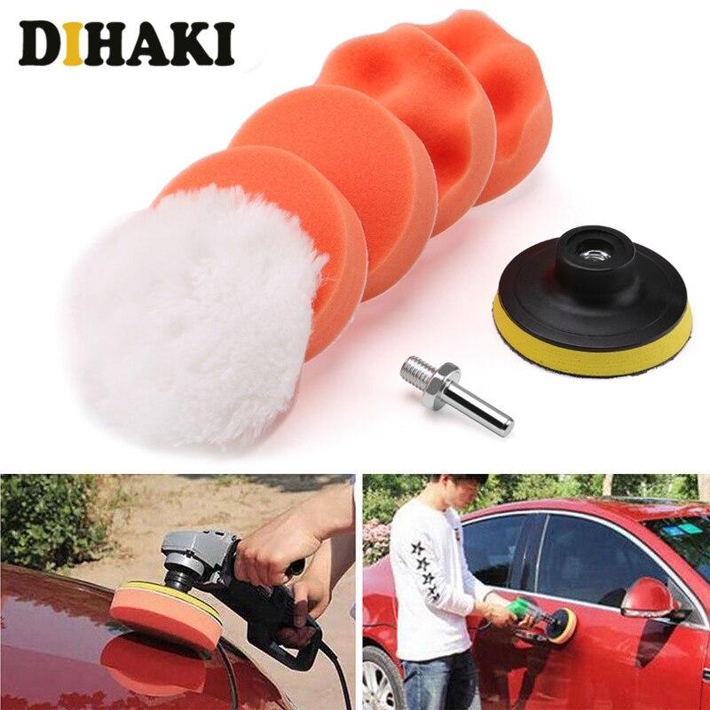 6Pcs Polieren Pad Set Gewinde 3 zoll Auto Auto Polieren pad Kit für Auto Polierer + Bohrer Adapter M10 power Werkzeuge zubehör