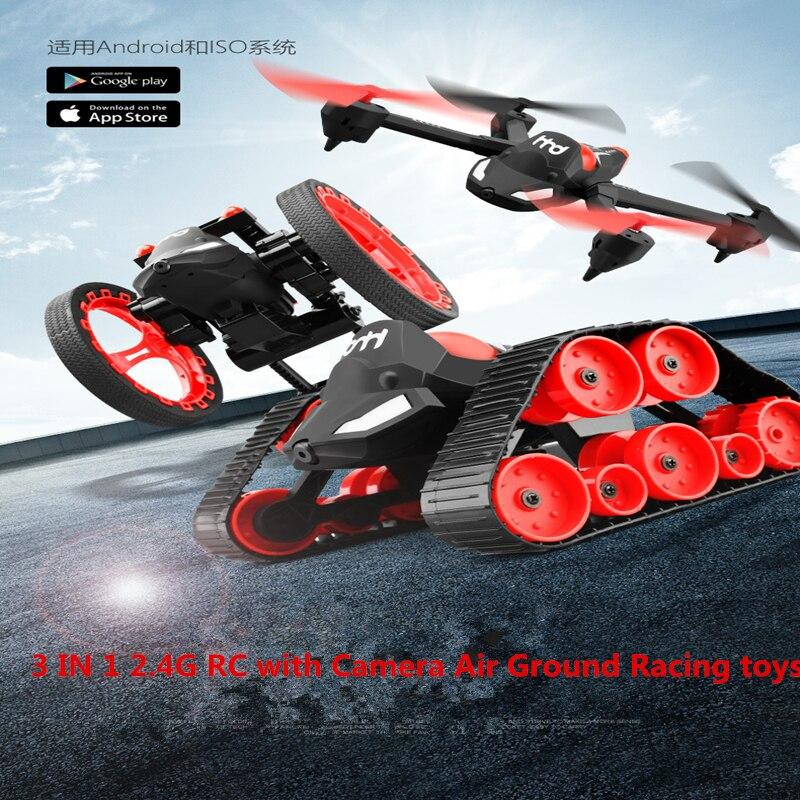 Dron 3 en 1 de 2,4G y 4 canales con cámara, juguetes voladores para carreras por aire, tanque rc con cámara WIFI, Juguetes DIY en tiempo real