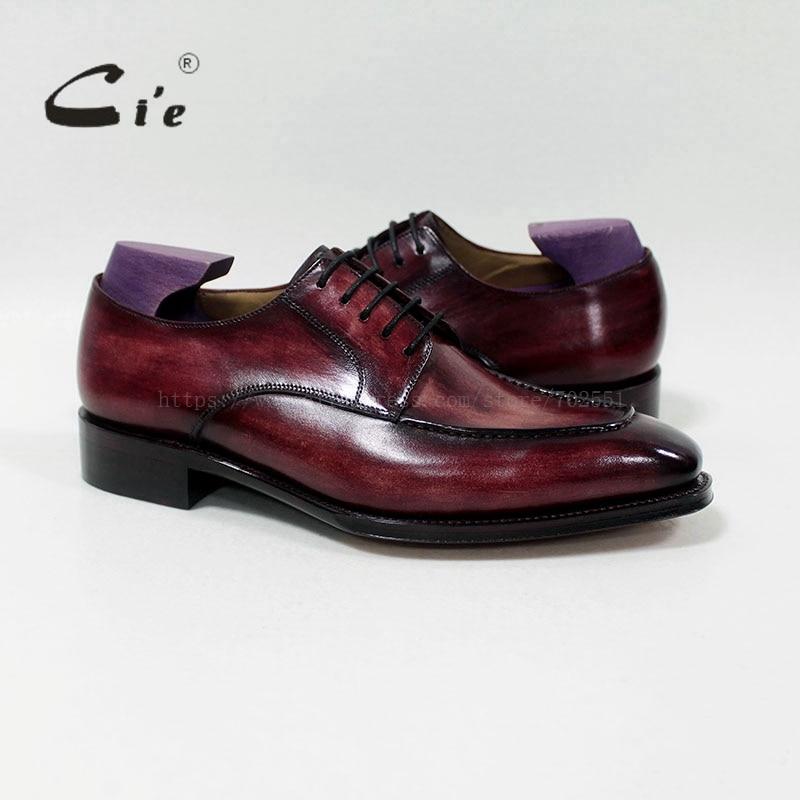 Cie مربع تو مخصص اليدوية 100% حقيقية جلد العجل الرجال اللباس/الكلاسيكية الزنجار الأحمر البني ديربي جلدية الرجال حذاء مسطح D-02-18