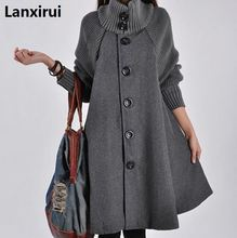 Femme simple boutonnage à manches longues en laine manteaux dame décontracté a-line longs manteaux vêtements dhiver chauds