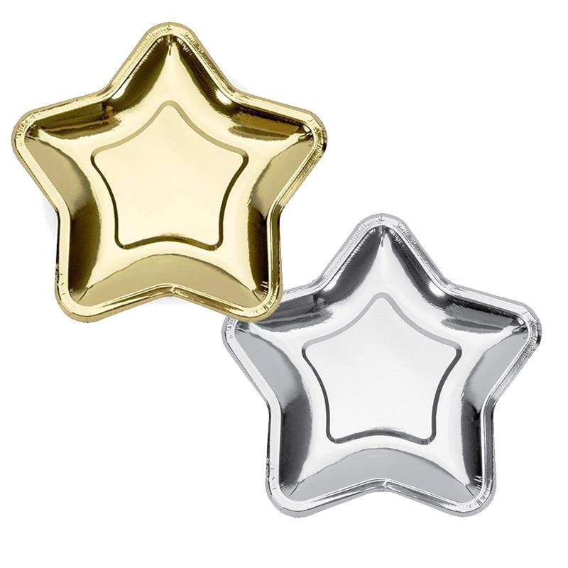 10pcs Gold/silver Foil Paper Star Plates Irregular polygon Pentagram Party Dessert Dishes Kids Birthday Wedding Supplies