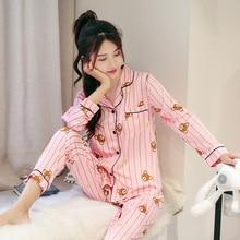 2019 New Cotton Pajama Sets Women Sweet Girl Lounge Cute Sleepwear Long Sleeve Casual Nightwear Big Yards M-XXL Female Pijamas