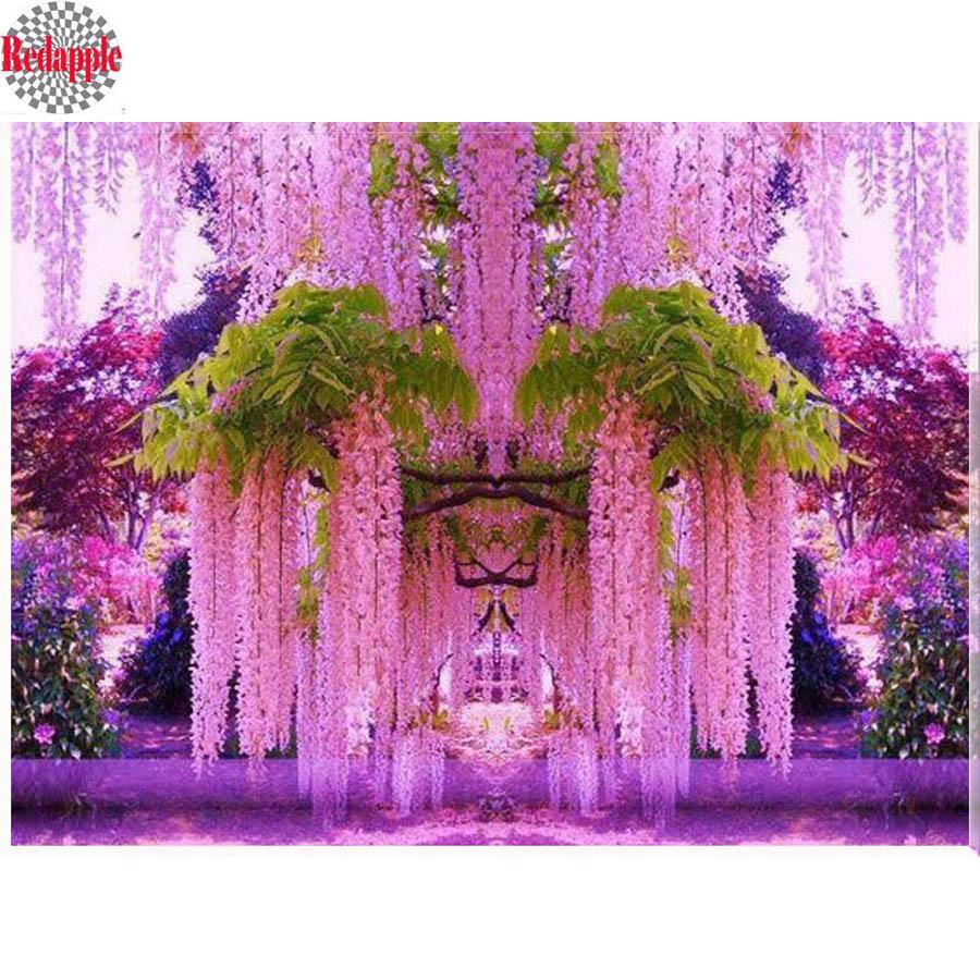 5D diy diamante pintura punto de cruz Rosa wisteria tre diamante bordado flores cuadrado completo diamante mosaico decoración del hogar regalo