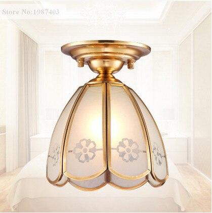 Luzes de Teto Handwork copper & vidro fosco impressão europeu de solda E27 CONDUZIU a lâmpada para o alpendre & pavilion & stairs & bar BRSXDD006