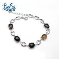 bolaijewelrynatural black opal oval 68mm 4 55ct gemstone bracelet 925 sterling silver fine jewelry women daily wear gift