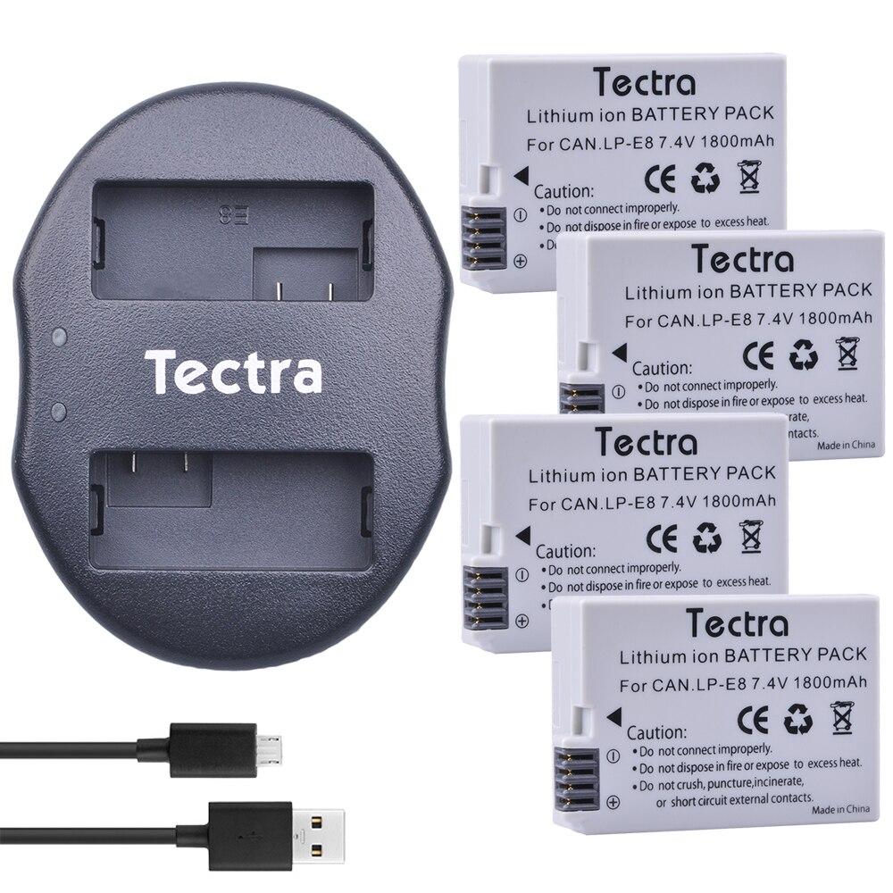 Tectra 4 Uds LP-E8 LPE8 LP E8 Li-Ion batería + cargador Dual...