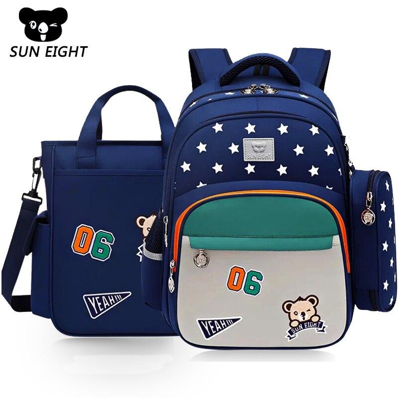 Mochila escolar para niños SUN EIGHT, mochila azul/roja resistente al agua de nailon para niños, mochila para niños y niñas