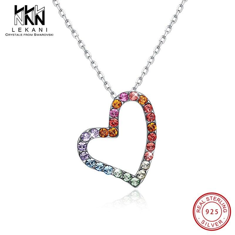 Collar con colgante de cristal de Swarovski colorido para mujer, pendientes rectangulares, cadena de plata 925, joyería de compromiso para boda