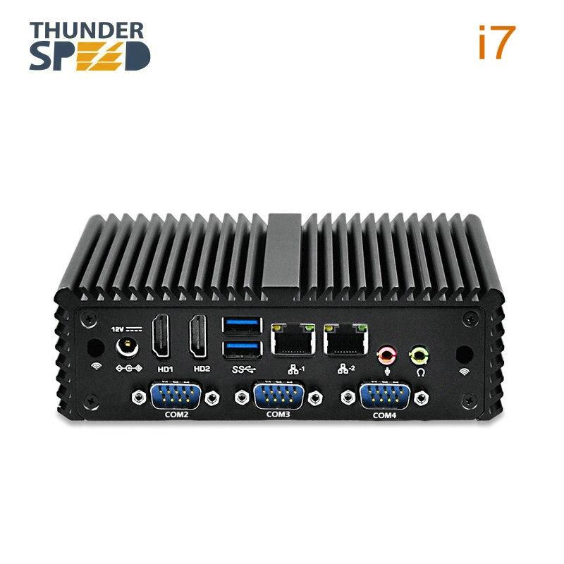 Intel i7 Mini PC NUC con carcasa de aluminio 2 LAN 2 HDMI 8G RAM 128G SSD 300M WIFI Gráficos HD Intel HTPC computadora servidor TV BOX