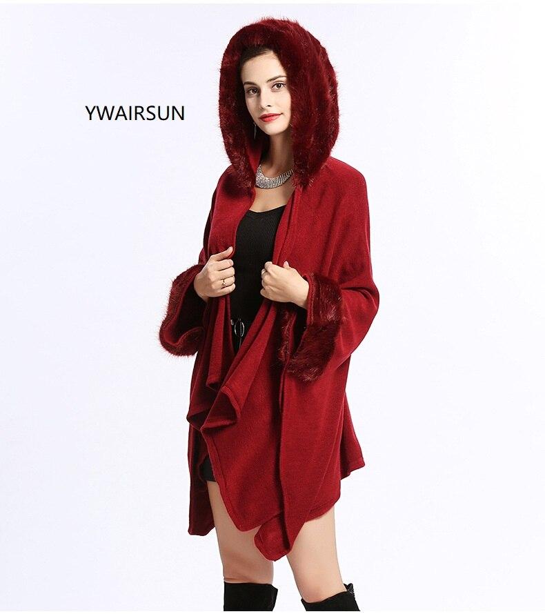 YWAIRSUN-معطف نسائي من الفرو المقلد ، ياقة نموذجية ، شال ، معطف ، قبعة ، وشاح