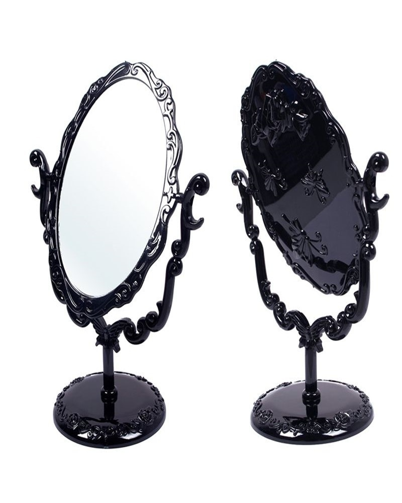 Espejo de maquillaje real Vintage negro caliente espejo gótico giratorio de escritorio con mariposa rosa y vides herramienta cosmética de decoración