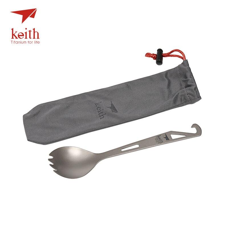 Keith Titanium Spork con punta de horquilla abrebotellas Camping viaje vajilla Picnic práctico gancho en la parte superior tenedor cuchara 15g Ti5311