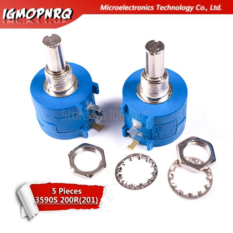 5 шт. 3590S-2-201L 3590S 200 Ом прецизионный многоповоротный потенциометр 10 кольцевой регулируемый резистор