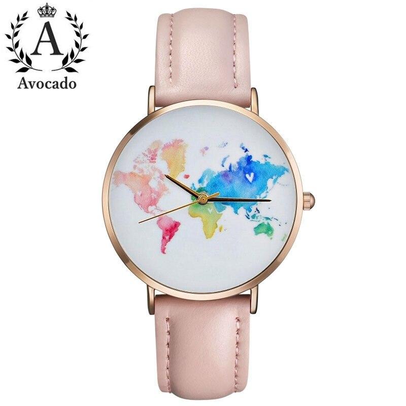 Regalo de graduación de aguacate. Reloj de mapa del mundo. ¡Wanderlust! Regalo para mujeres. Reloj para mujer. Viajes regalo Mujer regalo Mundo Relojes