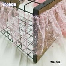 9CM Wide Luxury pink Embroidery cotton mesh flower lace fabric trim ribbon DIY sewing applique collar Dubai dress guipure decor