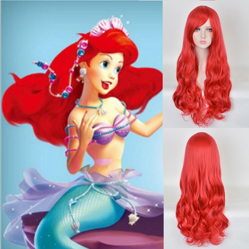70cm Anime The Little Mermaid Princess Ariel Cosplay Wig Halloween Play Wig Party Stage Synthetic Red Wavy Hair