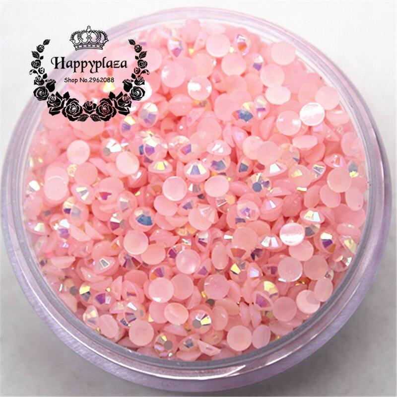 3mm 5000 unids/pack de diamantes de imitación de resina 14 facetas parte trasera plana Jelly Baby Rosa AB decoración para bolsas de teléfonos zapatos uñas DIY