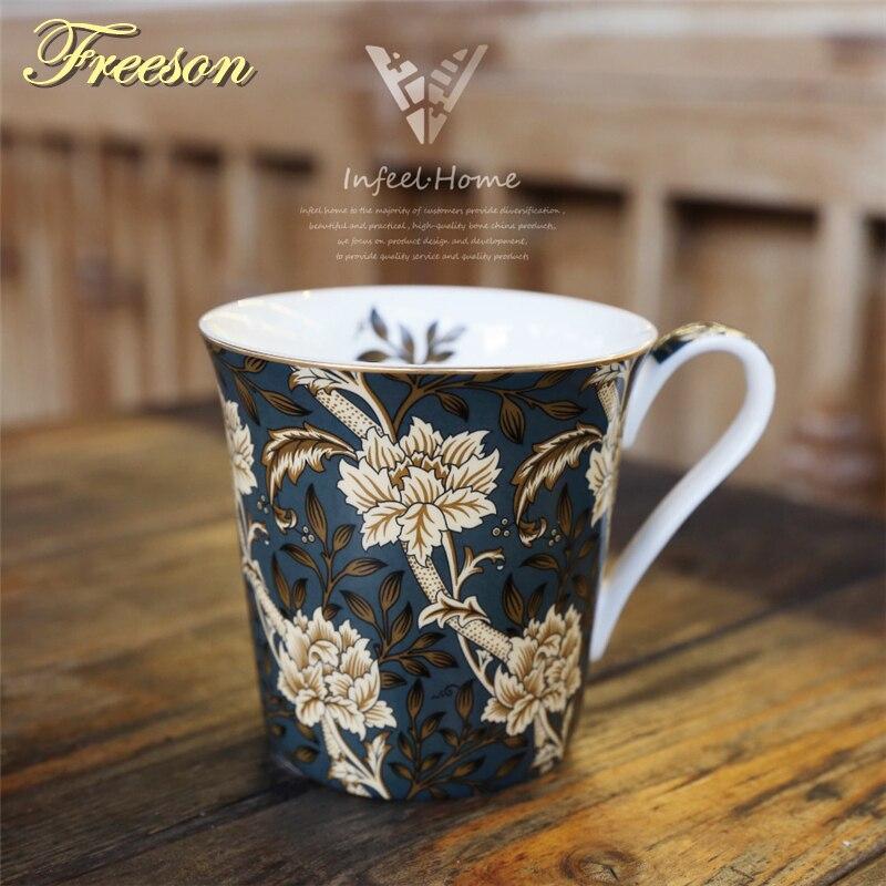 レトロボーンチャイナコーヒーマグスプーン北欧絵画茶マグ英国磁器コーヒーカップセラミックティーカップカフェ箸置き
