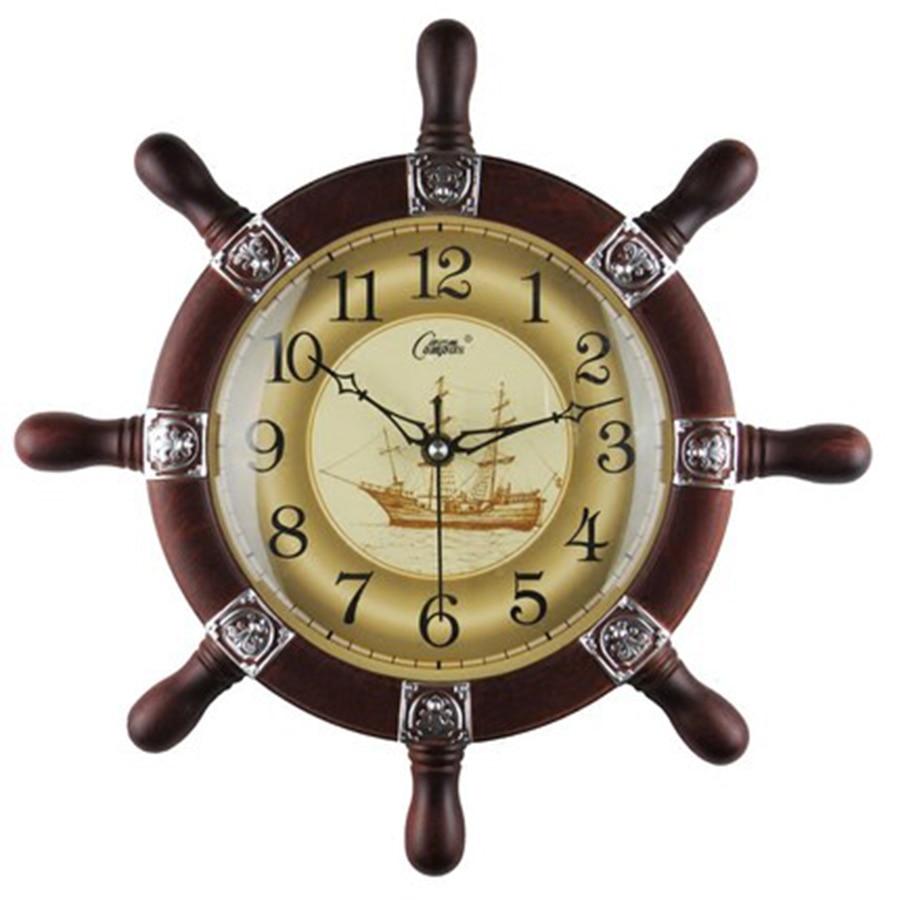 Reloj de pared mediterráneo europeo antiguo gran reloj silencioso en la pared Naval Vintage creativo hogar reloj C7T047