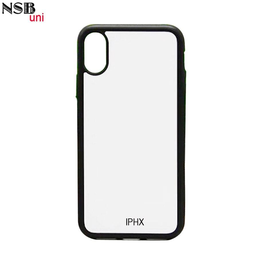 Para iphone x em branco 2d sublimação tpu casos de telefone celular, diy impressão borracha volta capa protetora com placa de metal branco