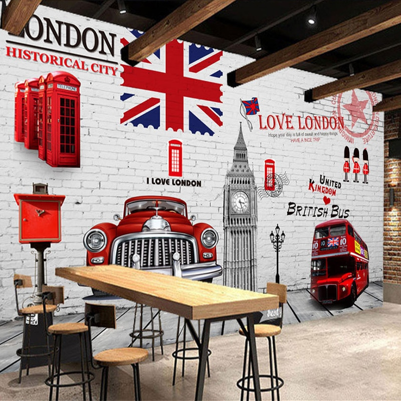 3D обои, искусственная кожа, красный телефон, стойка, автобус, фотография, Настенная роспись KTV, бар, ресторан, задний фон, настенные кирпичные обои
