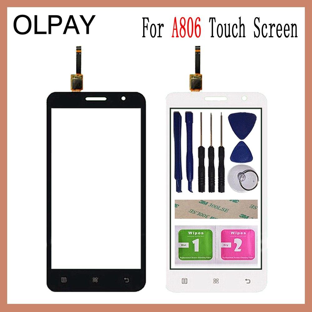 OLPAY, 5,0 , para Lenovo A806 A806T A808 A8, pantalla táctil capacitiva, Panel digitalizador, herramientas de vidrio, adhesivo y toallitas