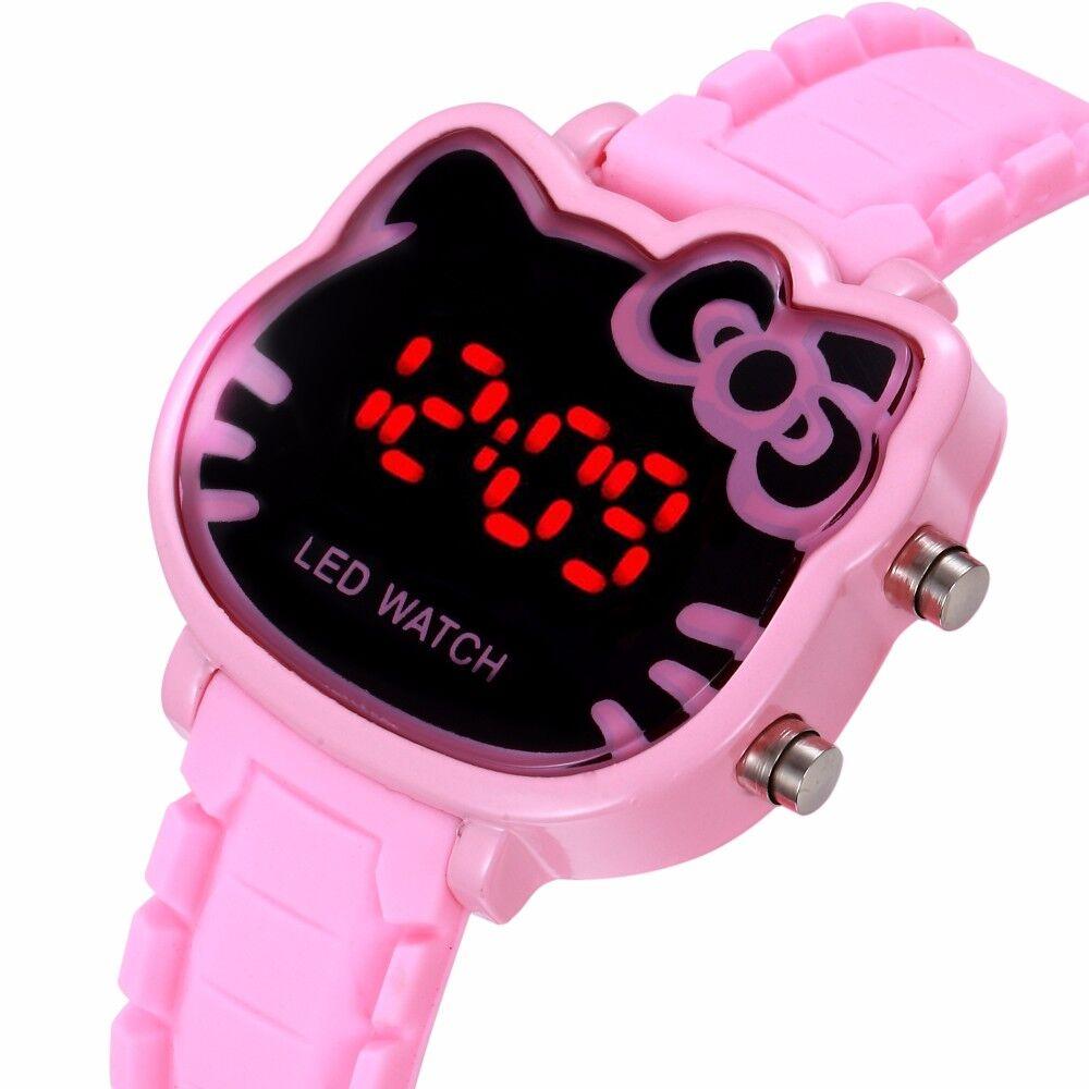 Precioso reloj de dibujos animados para niñas, reloj Digital Led de goma rosa para niñas, reloj femenino, regalo deportivo