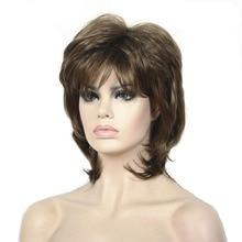 Perruques synthétiques courtes blondes et noires   Perruque naturelle, coiffures superposées, pour femmes