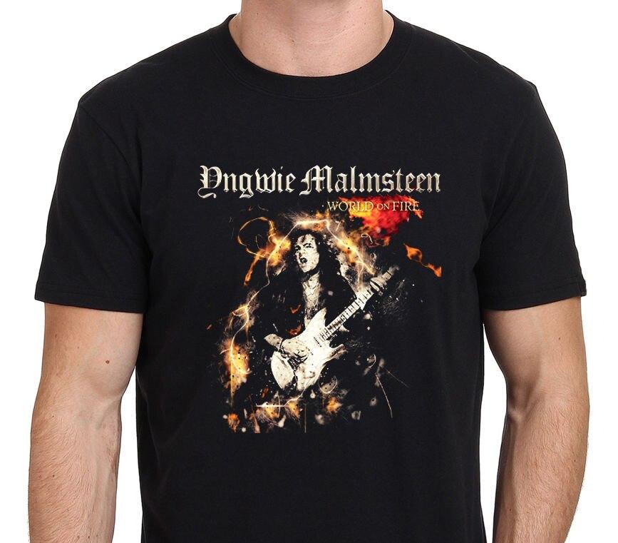 Novedad 2019 camiseta negra informal con estampado de letras a la moda para hombre Yngwie Malmsteen world on fire