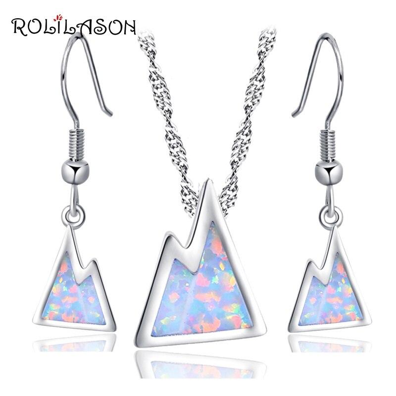 ROLILASON la colline ensemble de bijoux pour femmes marque blanc opale de feu argent estampillé 925 boucles doreilles pendentif avec chaîne OS028
