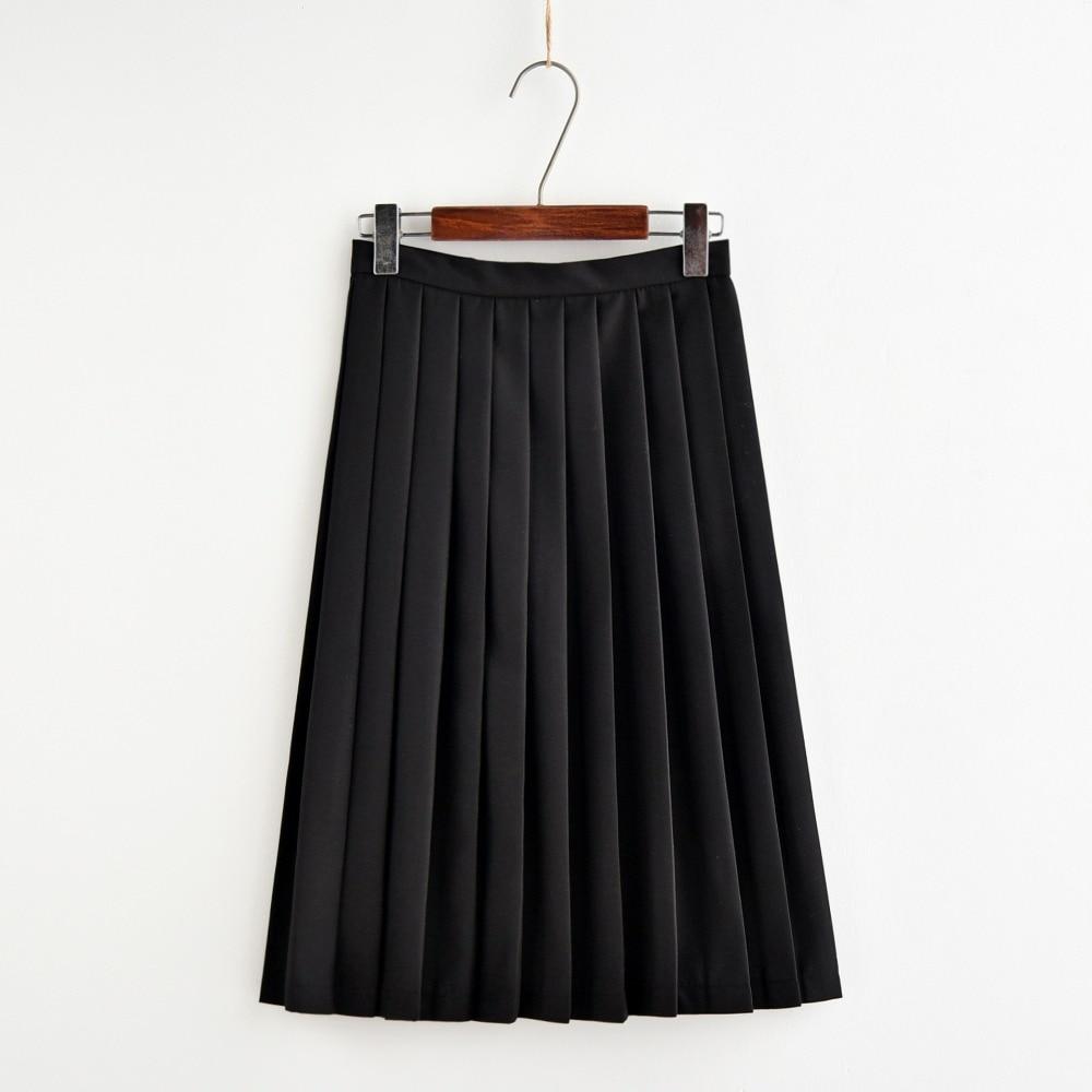 Japanese 2018 new brand girls skirts pleated schoolgirls skirt uniforms high waist solid pleated skirt harajuku female 0522-47