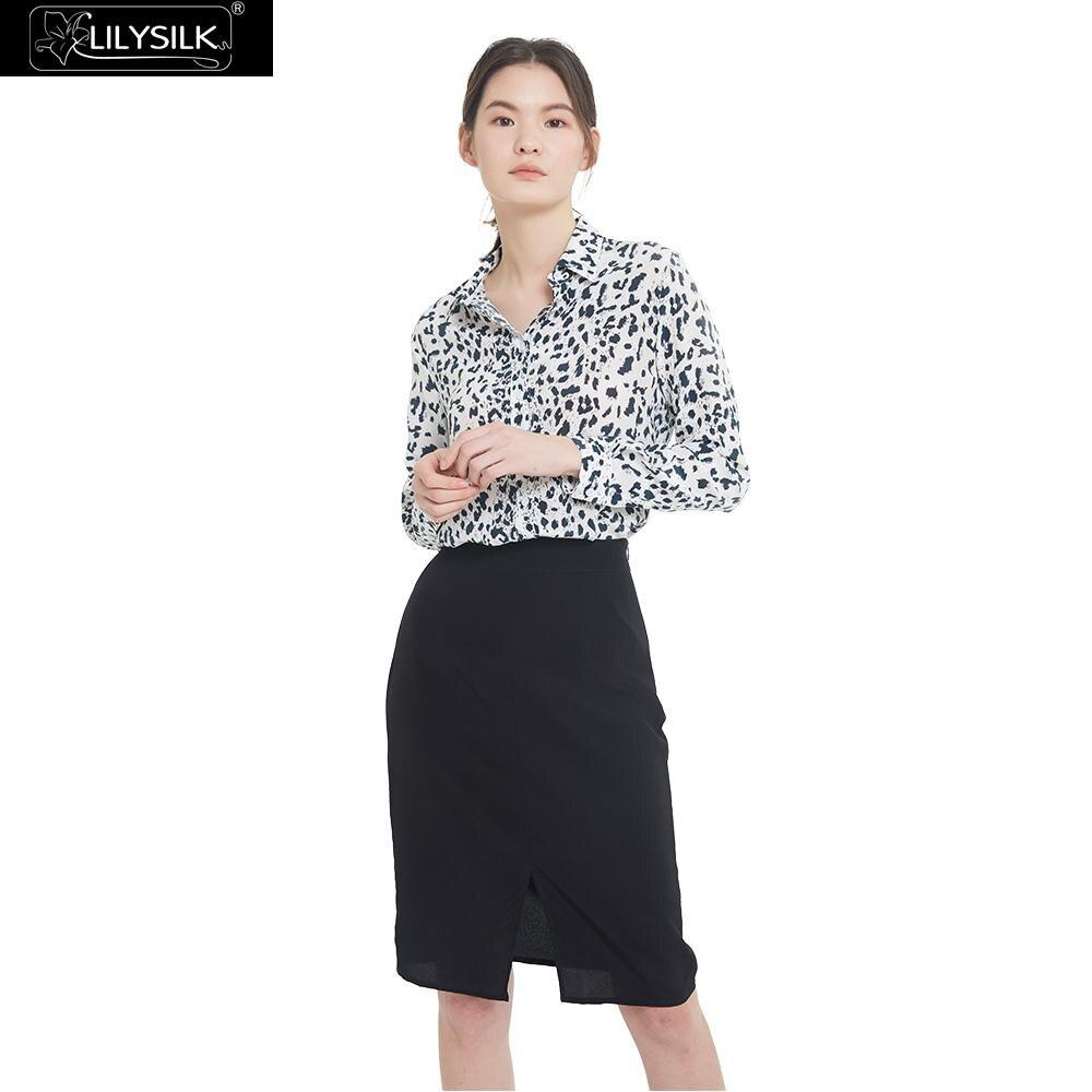 LilySilk seda camisa blusa blanca leopardo mujeres manga larga suave envío gratis