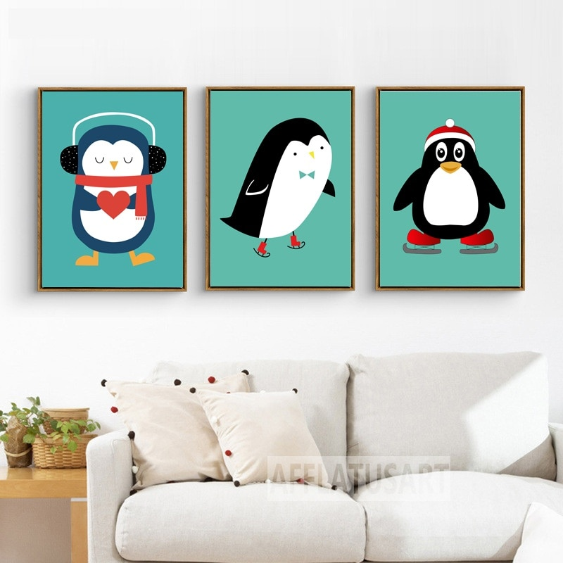Dibujo animado pingüino lienzo pintura arte de pared imprimir póster de lienzo cuadros de pared de guardería moderna habitación niños bebé Decoración