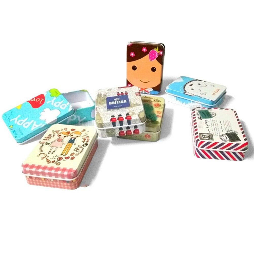 Heißer Verkauf 1 stücke Mini Nette Kawaii Cartoon Zinn Metall Box fall Hauptspeicherorganisator Für Schmuck Kinder Spielzeug Geschenk Hause liefert