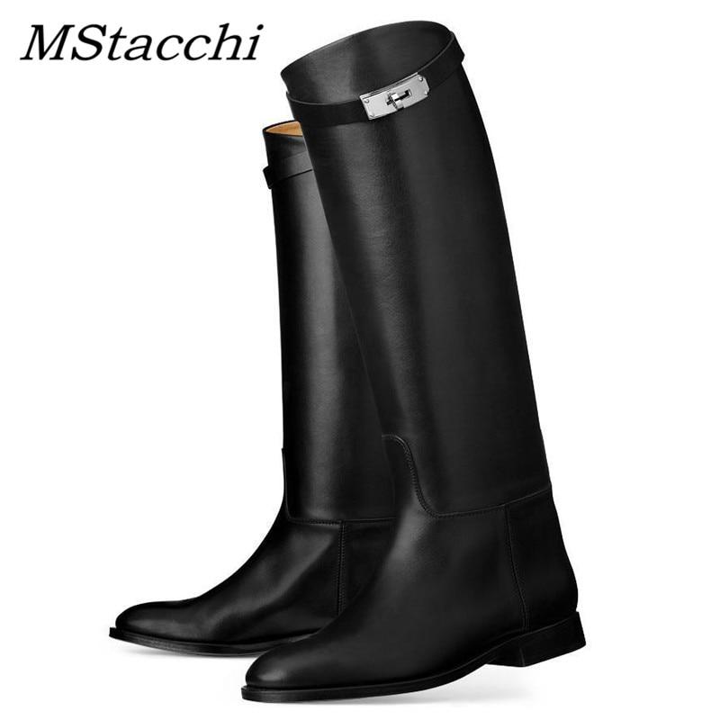 MStacchi/Дизайнерские высокие сапоги из натуральной кожи; Пикантные женские мотоботы с ремешком и металлическим замком в виде акулы; Сапоги до колена на Плоском Каблуке