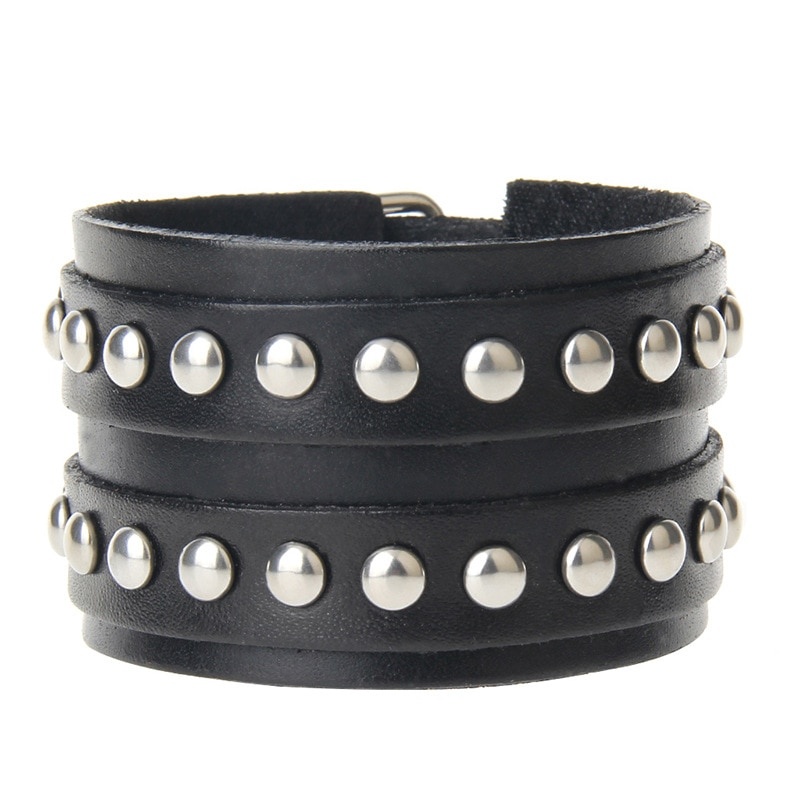 Мужской винтажный браслет, широкий браслет из натуральной кожи в стиле панк, 2019