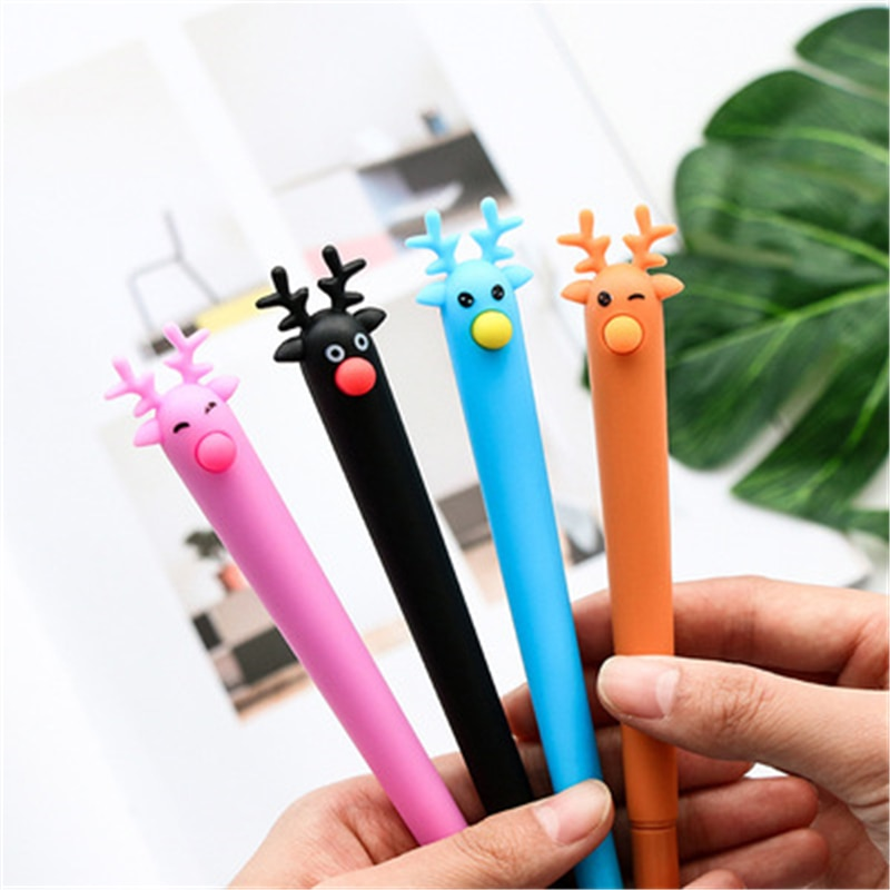 DL Small fresh Christmas Reindeer soft pen 0.5mm black pen student office stationery Office equipmen