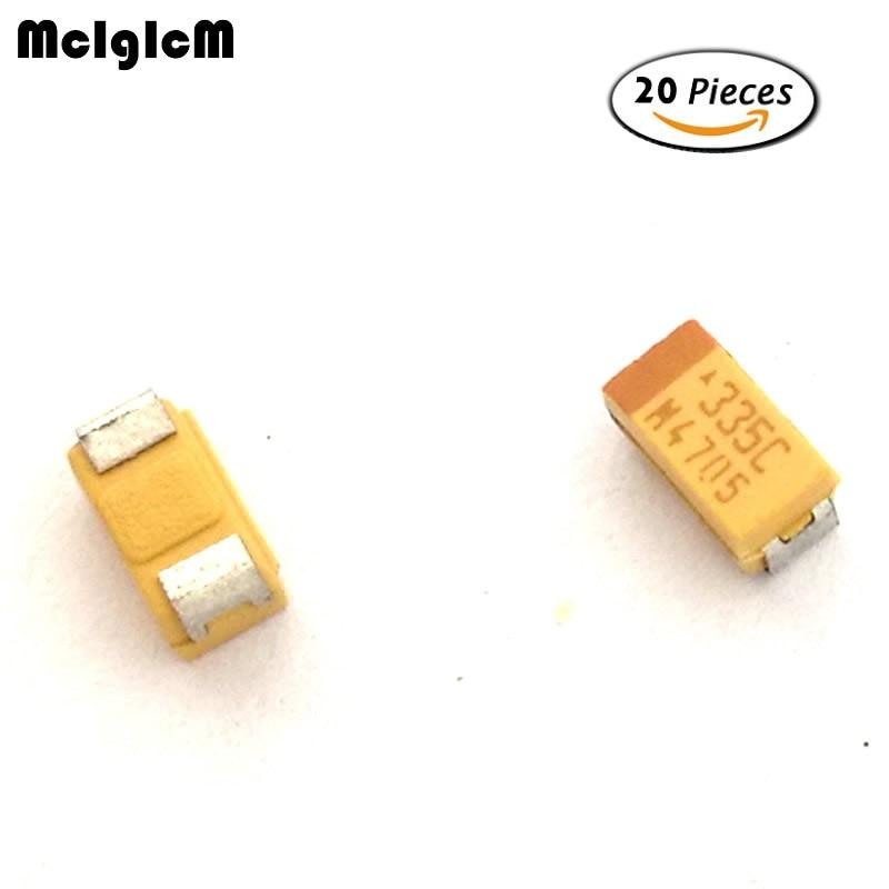 MCIGICM 20 piezas 3216 de 3,3 uF 16V SMD condensador de tantalio