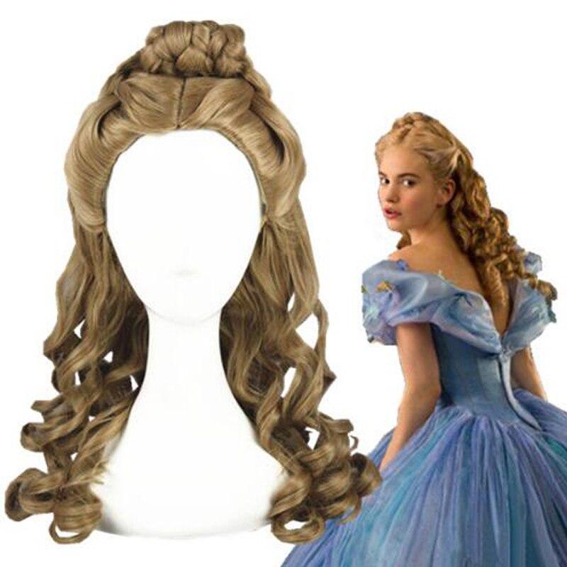 Peluca de Cenicienta, Rol de cosplay, película de Halloween, película de arena, Princesa, pelo sintético ondulado + gorro de peluca