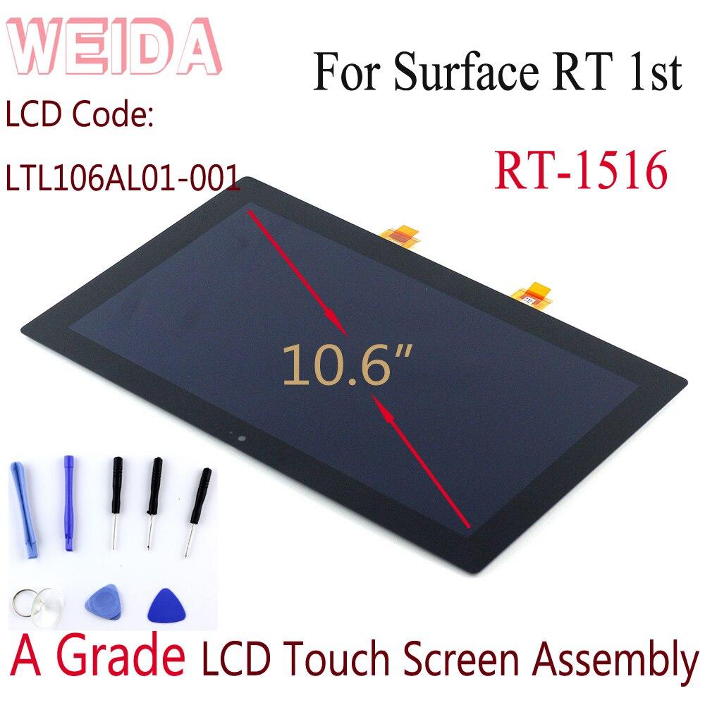 "WEIDA LCD de reemplazo para Microsoft Surface RT 1516 de 10,6 ""Pantalla LCD de montaje de pantalla táctil Surface RT LCD LTL106AL01-001"