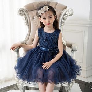 Children Girl Dress Kids Party Wear Princess Costume For Girl  Birthday Dresses Girl Summer Blue Clothes