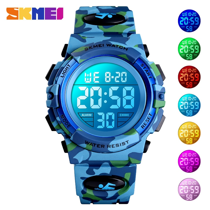 SKMEI Military Kids Sport Watches 50M Waterproof Electronic Wristwatch Stop Watch Clock Children Dig