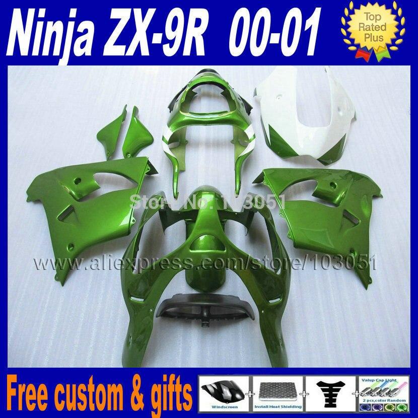 Kits de carenado de motocicleta gratis personalizados para kawasaki ZX 9R 2000 2001 ninja ZX9R ZX9 00 01 Reparación de cuerpo verde oscuro carenados partes
