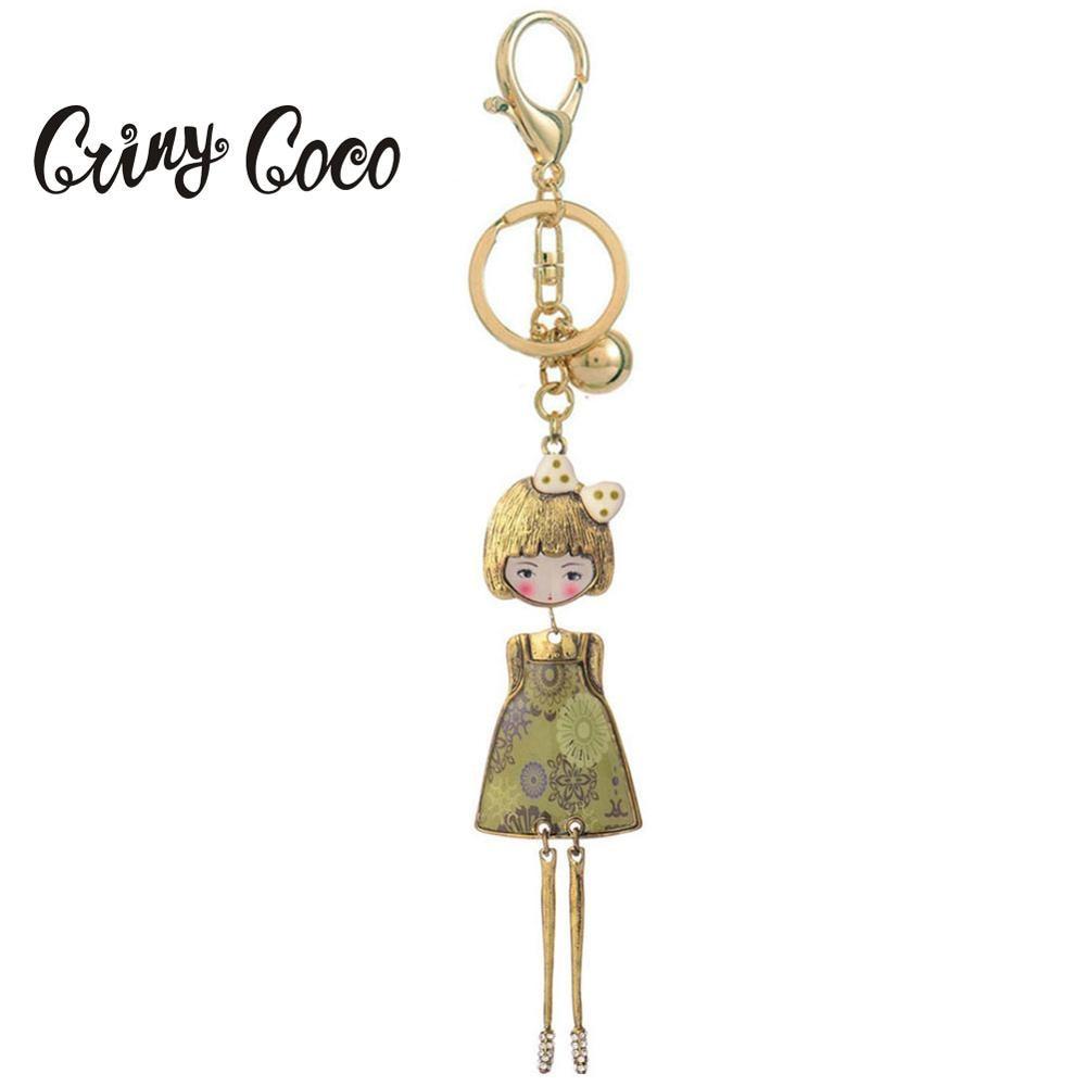Cring Coco 2019 Sweet Doll Keychains for Women Fashion Enamel Alloy Metal Key Chain Car Bag Pendant Keyring Rings Women's Gifts