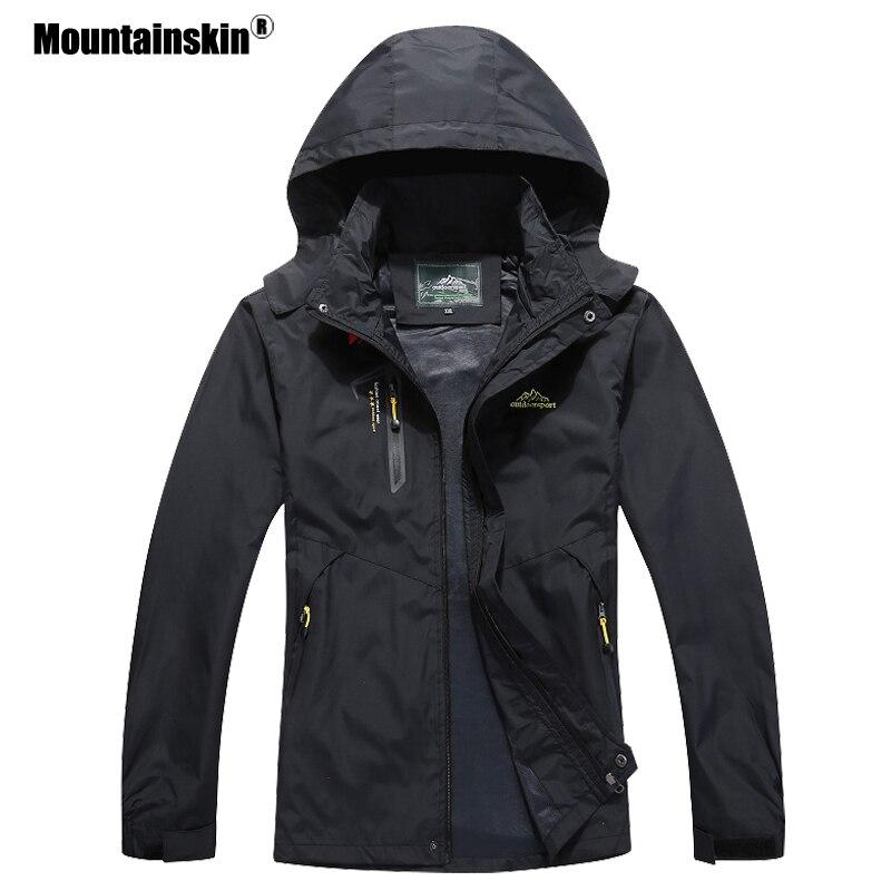 Mountainskin 2021 جديد الرجال سترات رجالي الخريف ملابس خارجية مقاوم للماء سترة واقية الرجال معطف مقنع رجالي ماركة الملابس 5XL SA545